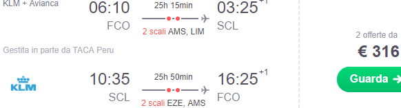 Air France cheap flights from Rome to Santiago de Chile from €316!