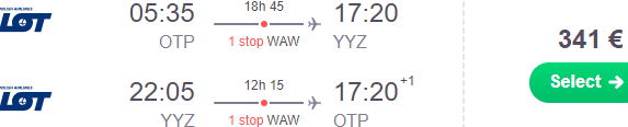 Cheap return flights from Bucharest to Toronto from €341 incl. checked bag!