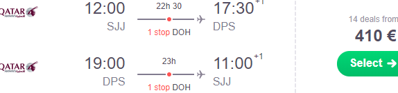 Qatar Airways flights from Sarajevo to Bali, Indonesia from €410 return!
