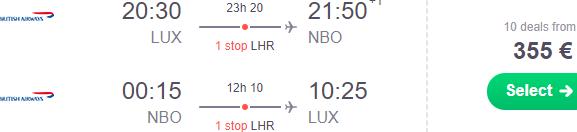British Airways cheap return flights from Europe to Nairobi, Kenya from €355!
