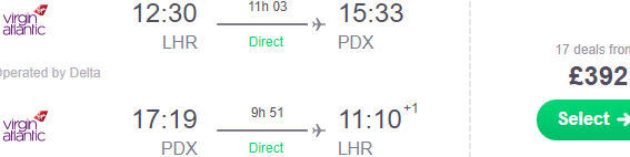 Non-stop flights from London to Portland, Oregon from £392!