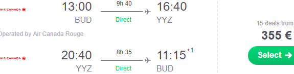 Cheap non-stop flights from Budapest to Canada from €355!