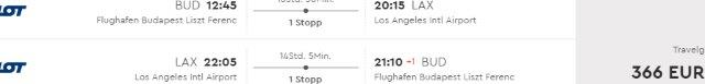 Return flights from Budapest to California from €366 including checked bag..