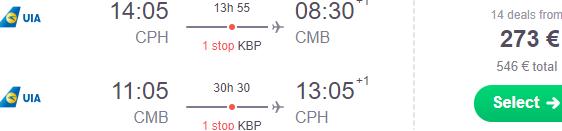 Cheap return flights Europe to Colombo, Sri Lanka from €273 or £318!