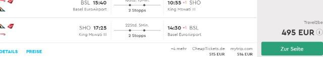 Return flights from Switzerland to the Kingdom of eSwatini from €495!