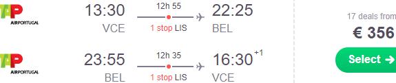 Cheap return flights from Europe to Belém, Brazil from €356!