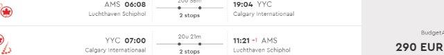 Big list of discounted flights from Amsterdam, Paris or Italy to cities in Western North America from €290 return!