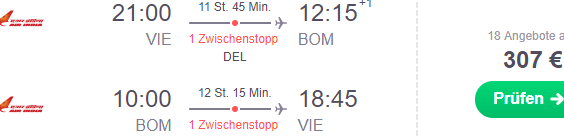 Cheap flights from Vienna to Mumbai, India from €307 return!