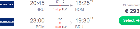 Cheap return flights from Brussels to Mumbai incl. Christmas from €293!