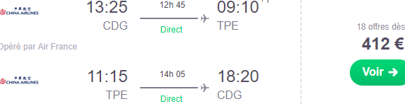 Cheap non-stop flights from Paris to Taipei, Taiwan from €412!