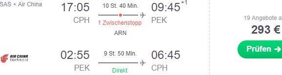 Cheap return flights from Copenhagen to Beijing, China from €293!