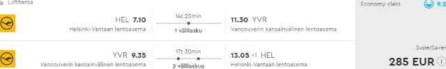 Greatly discounted return flights from Europe to Western North America from €285 or £325!