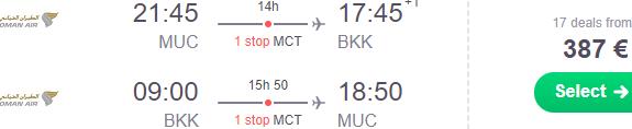 Cheap flights from Munich to Bangkok €387 or Sri Lanka €398!