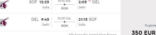 Cheap flights Sofia to India €350, Thailand or Vietnam €394 or Maldives €454!