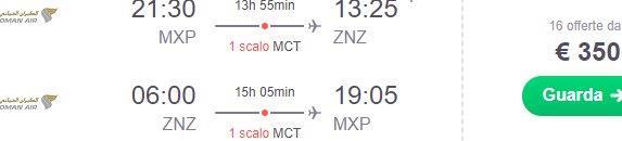Cheap flights from Milan to Zanzibar from €350 return!