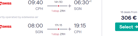 Swiss Air Lines high season cheap flights many European cities to Vietnam €306 or £351!
