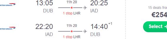 Cheap return flights from Dublin to Washington from €254!