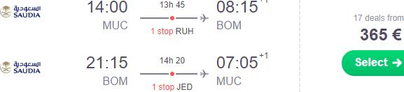 Cheap return flights from Munich to Mumbai from €365!