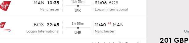 Virgin Atlantic cheap flights from Manchester to Boston from £201 return!