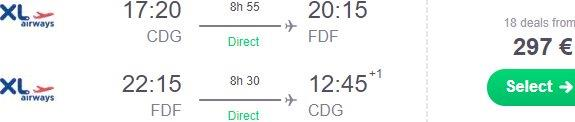 XL Airways promo sale: Last minute full service flights Paris to Martinique / Guadeloupe from €297!