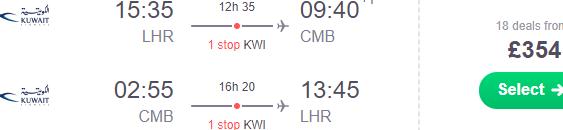 Cheap flights from London to Colombo, Sri Lanka from £354!