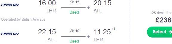 Cheap non-stop flights from London to Atlanta from £236 return!