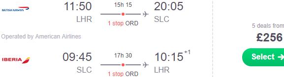 Cheap flights from London to Salt Lake City just £256 return!