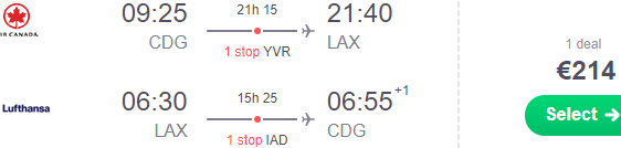 Super cheap flights from Paris to Los Angeles or San Francisco from €214!