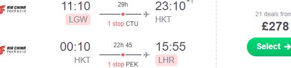 Cheap flights from London to Thailand (Phuket, Bangkok, Chiang Mai) from £278 return!