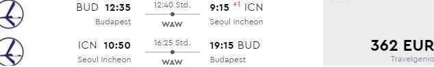 Cheap return flights from Budapest to Seoul from €362!