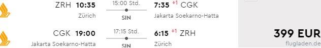 Cheap flights from Zurich to Jakarta already for €399 roundtrip!