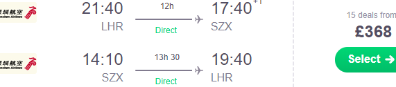 Cheap flights from London to Shenzhen, China from £368! (Non-stop service)