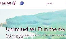 Qatar Airways unlimited Wi-Fi in the sky promo offer!