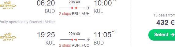 Return flights from Budapest to Kuala Lumpur form €432!