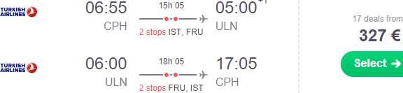 Cheap return flights from Copenhagen to Ulaanbaatar, Mongolia from €327!