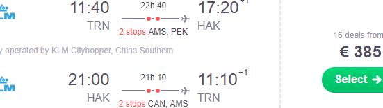 Cheap flights from many European cities to Hainan Island, China from €385!