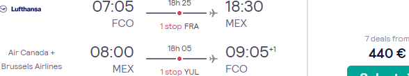 Return flights from Italy to Mexico City from €440!