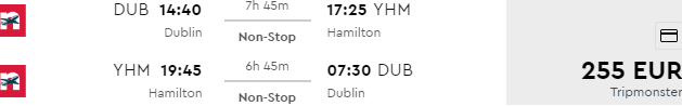 Cheap non-stop return flights from Dublin to Hamilton, Canada from €255!