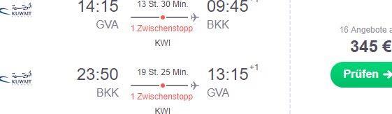 Cheap flights from Geneva to Bangkok from €345 return!