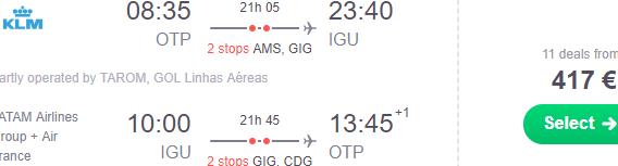 Return flights from Bucharest or Prague to Iguazu Falls, Brazil from €417!