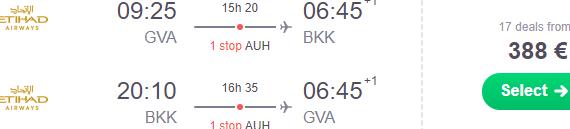 Etihad Airways flights from Geneva to Bangkok from €388!