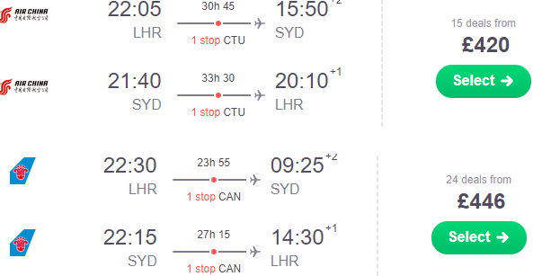 Cheap return flights from London to Australia or New Zealand £420!