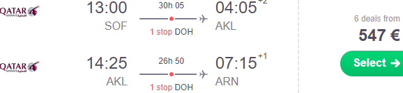 Cheap open-jaw flights from Sofia to Auckland return to Stockholm or Munich from €547!