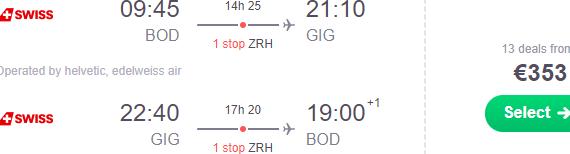 Swiss / Lufthansa cheap return flights from France to Rio de Janeiro from €353!