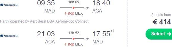 Return flights from Amsterdam, Madrid or Paris to many destinations in Mexico from €414!
