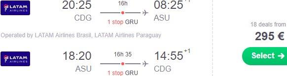 Cheap flights from Paris to South America (Paraguay, Chile, Argentina) from €295!