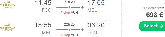 Etihad flights from Milan, Rome or Frankfurt to Melbourne from €693!