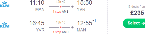 Cheap return flights from Manchester to Canada from £235!