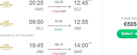 Multi-city flights from Amsterdam to Seychelles and Johannesburg €505!