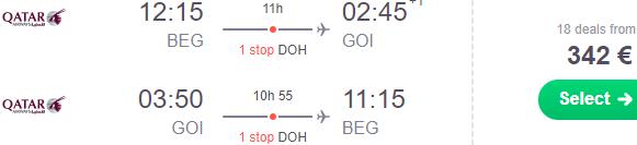 5* Qatar Airways cheap flights from Belgrade to Goa, India from just €342!